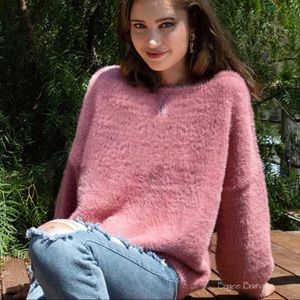 POL Fuzzy Soft Strawberry Ice Pullover Sweater